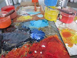Christine Barrès - Atelier, mélange de couleurs